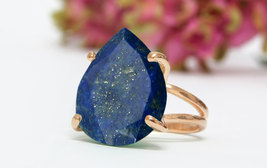 Rose gold lapis ring,teardrop ring,pink gold ring,14k rose gold ring,pro... - $79.00+