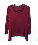 Simply Vera Wang PM Plum Purple Long Sleeve Women's Shirt Blouse - $11.64
