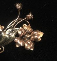 40s victorian A+Z flowers and vines brooch with mixed metals image 2