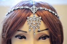 Silver matha patti tikka Passa Head Chain Head ... - $9.64