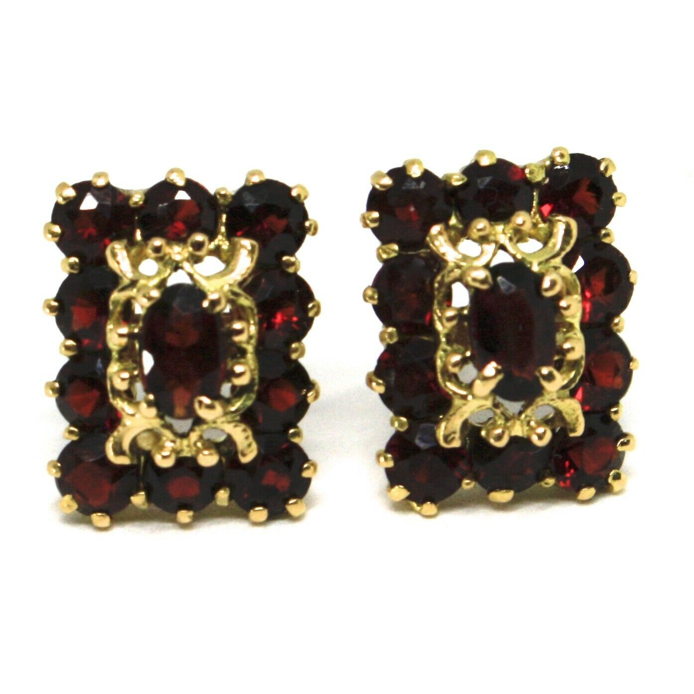 SOLID 18K YELLOW GOLD EARRINGS, SQUARE WITH RED GARNET, LOBE, MADE IN ITALY