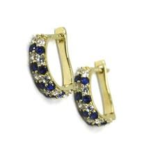 18K YELLOW GOLD MINI 10mm CIRCLE HOOPS EARRINGS, BLUE & WHITE CUBIC ZIRCONIA image 1
