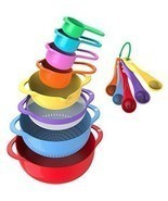 13 Pcs Plastic Mixing Bowls Bowl Cooking Baking Measuring Cups Kitchen S... - $37.85 CAD