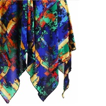 Gypsy Boho Multi Colored Stained Glass Print Short Sleeve Chiffon Scarf Blouse image 3