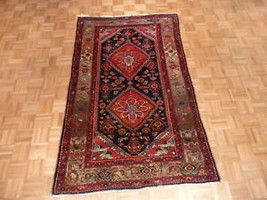 4'4 X 7'2 Hand Knotted Blue Persian Antique Hamadan Rug Veg Dyes G1515 - $444.61