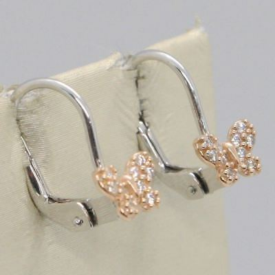 WHITE GOLD EARRINGS AND PINK 18K 750 IN MALDONADO WITH BUTTERFLY ZIRCONIA CUBIC