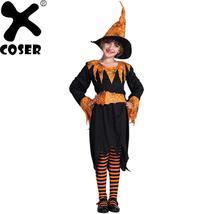 2019 Halloween Party Pumpkin Spider Witch Cosplay Girls Skirt Suit Children - $78.04+