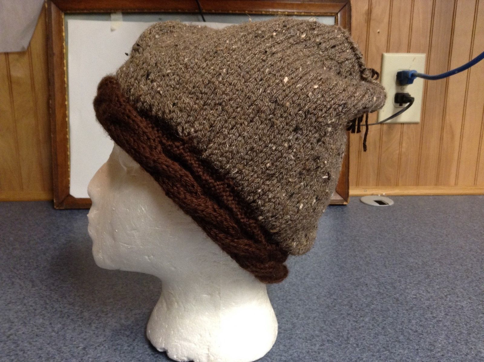 Light Brown w Cream Highlights Tasseled Beanie