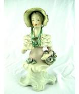 "Vintage 1940s Cordey Porcelain Figure Woman Holding Flower Basket 10"" - $69.25"