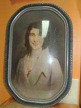 "Antique Oblong Wood Picture Frame Convex Bubble Glass 17.5""x11.5"" Silver... - £91.41 GBP"