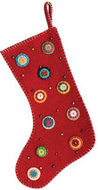 Creative Co-Op Wool Felt Embroidered Stocking, Red, Multicolor - $37.43