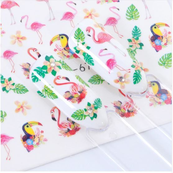 HS Store - 1pcs STZ770 Nail Stickers Water Transfer Sticker Cartoon Cute Animal