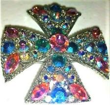 Vintage Sparkly Multicolor Rhinestones Maltese Cross Brooch-Pendant All ... - $49.99