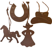 Country Western Cowboy Christmas Ornaments -set of 4 Cowgirl Horse/Shoe Hat - $7.87