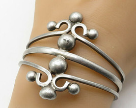 MEXICO 925 Sterling Silver - Vintage Large Art Deco Split Cuff Bracelet - B3968 - $120.00