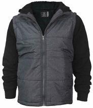 Vertical Sport Men's Sherpa Fleece Lined Two Tone Zip Up Hoodie Jacket image 3