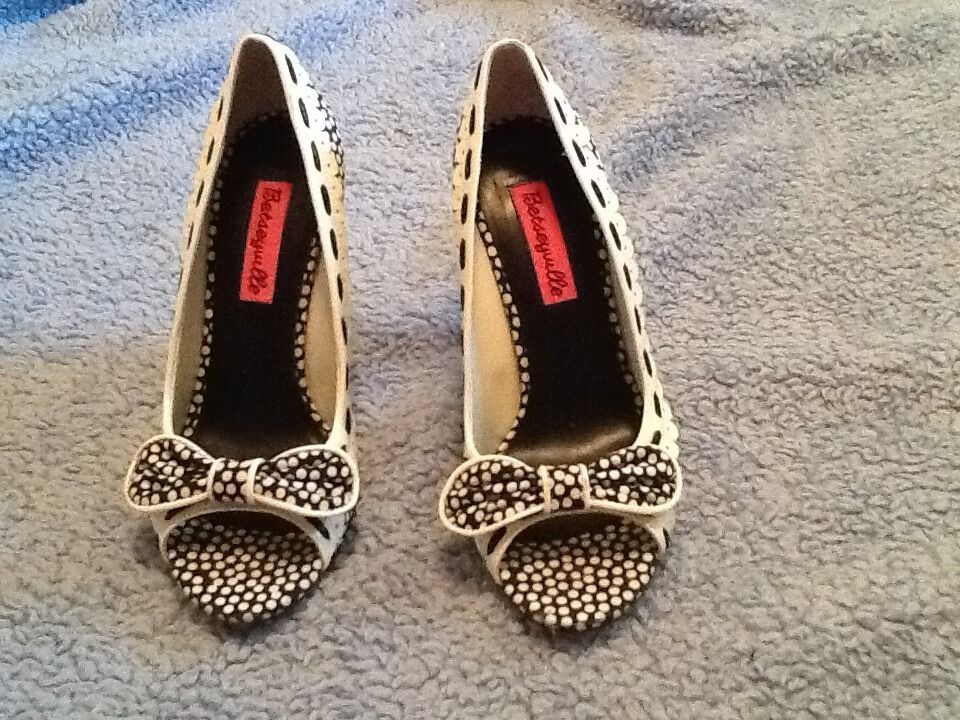 Betseyville Black&White Rockabilly Polka Dot Open Toe Bow Heel Sz 6m