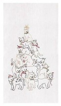 GALLERIE II CAT CHRISTMAS TREE TOWEL CHRISTMAS HOLIDAY DECOR - $9.88