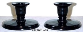 Imperial Ebony Black Glass Low Candleholders with Pillar Flute Underbase - $24.58