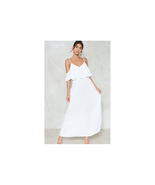 Nasty Gal Relaxed to the Maxi Cold Shoulder Dress White Size US 6 NWT - $38.61