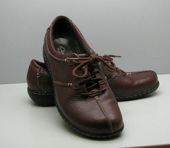 Clarks Bendables Brown Leather SHOES Woman's 8 M Lace Up Ties Super Nice - $16.82