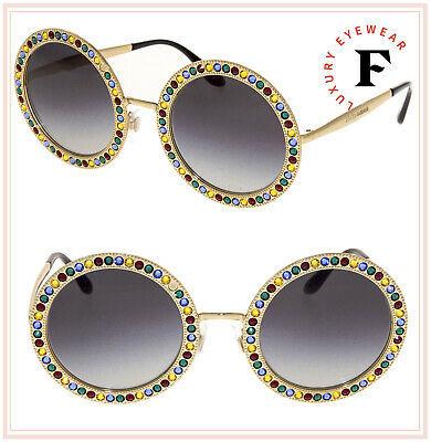 DOLCE & GABBANA MAMBO CAPRI JEWEL 2170 Gold Crystal Round Sunglasses DG2170BS