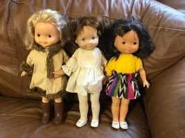 "Lot 3 Vintage 1978 Fisher Price Cloth Vinyl Girl Character Dolls 15"" 196... - $74.24"