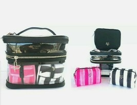 Victorias Secret 4 In 1 Set Clear Cosmetic Makeup Bag Vanity Train Case Nwt - $30.16