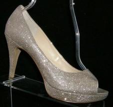 Enzo Angiolini 'Demario' silver sparkle peep toe slip on platform heels ... - $35.17