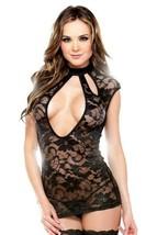 TEASE FANTASY LACE DRESS SEXY CUTOUT NECKLINE CAP SLEEVE PANTY SET ONE SIZE - $24.49