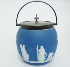 "Vintage Blue Jasperware Biscuit Jar Barrel with Lid and Handle Dipped England 5"" - $148.49"