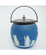 Vintage Blue Jasperware Biscuit Jar Barrel with Lid and Handle Dipped En... - $148.49