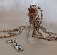 Handmade Glass Bottle Necklace Zip Clips Walking Dead Theme Arrows Zombi... - $24.99