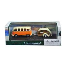 Volkswagen Bus Samba Orange with Caravan III Trailer in Display Showcase... - $17.94