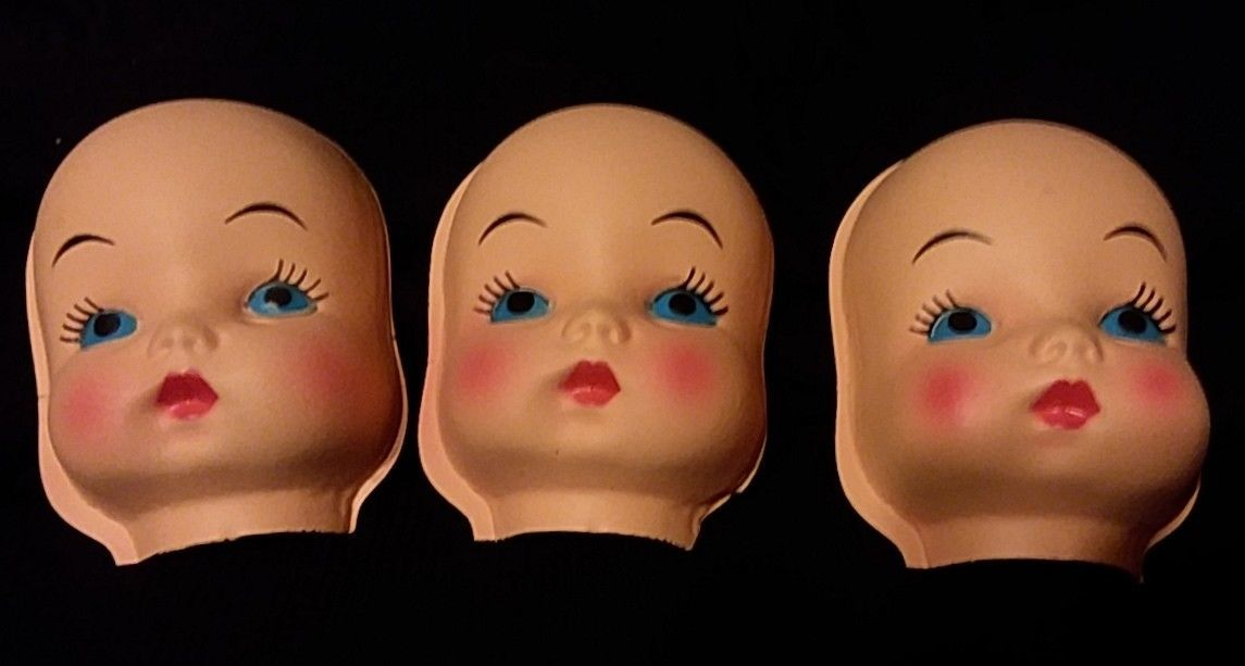 Primary image for 3 Vintage Fibre Craft Plastic Faces Doll Half Heads Rosy Cheeks Blue Pouty Lips