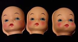 3 Vintage Fibre Craft Plastic Faces Doll Half Heads Rosy Cheeks Blue Pou... - $25.73