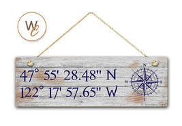 "Latitude Longitude Sign, Personalized 5.5""x17"" White Wash Style, GPS Coo... - $24.21"