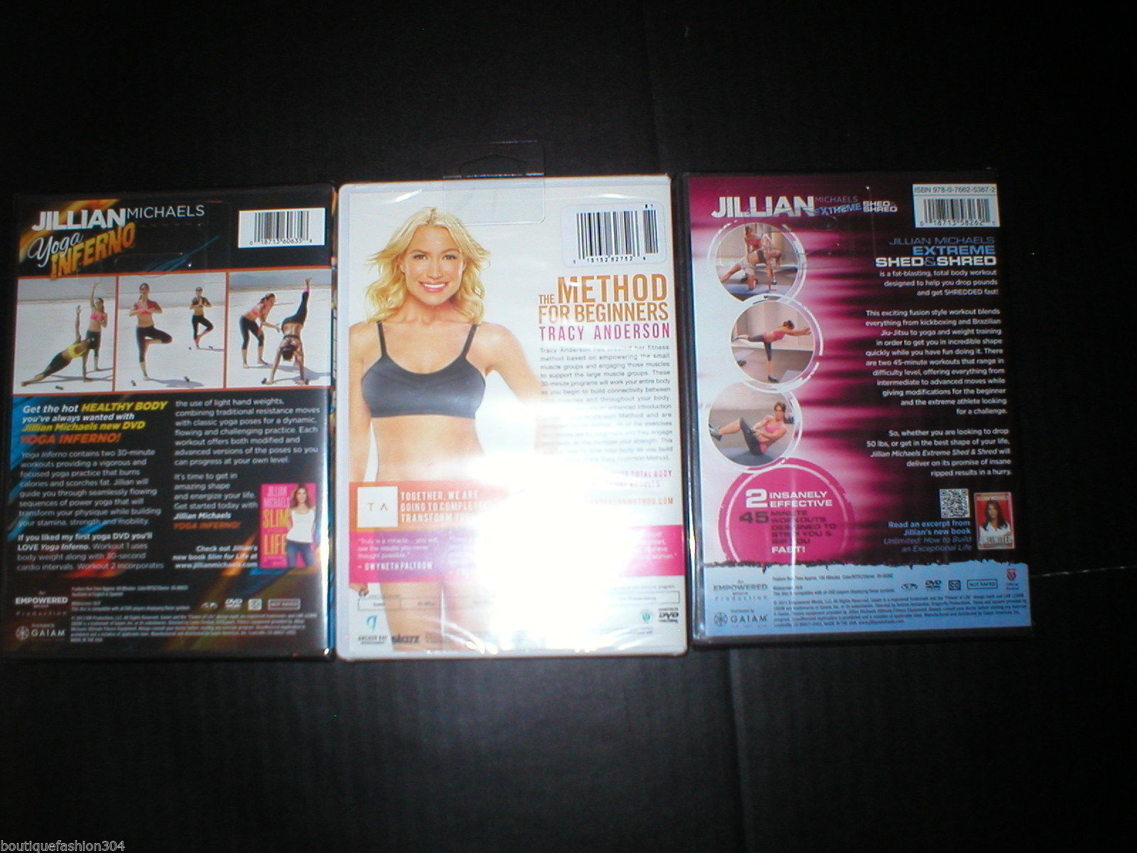 New DVD 3 Lot Yoga Shed & Shred Method Jillian Michaels Tracy Anderson 6 Workout image 3