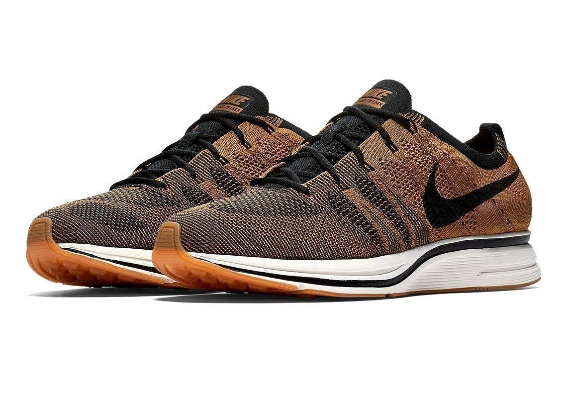 Nike Flyknit Trainer Golden Beige Black Gum Light Brown AH8396-203 Mens Shoes