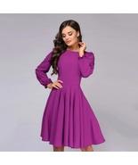 New purple A line long sleeve knee length women dress casual elegant office - $38.00