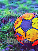 Digital download ball  soccer sports lawn colorful Wallpaper Painting Wa... - $5.00