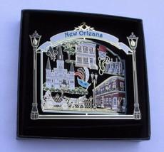 New Orleans Landmarks Brass Ornament Black Leatherette Gift Box - $18.95