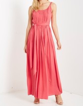 Coral Maxi Dress, Pleated Rayon Maxi Dress, Pleated Coral Maxi, Colbert Clothing