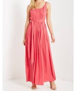 Coral Maxi Dress, Pleated Rayon Maxi Dress, Pleated Coral Maxi, Colbert ... - €60,89 EUR