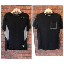 2 Nike T-Shirts Large Pro Fitted Black Gray Work Out Gym Tops Both Shirt... - $14.85