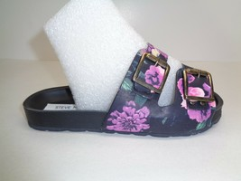 Steve Madden Sze 6 BONIELLA Black Floral Leather Slides Sandals New Womens Shoes - $88.11