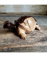 Hand Carved Wooden Turtle Figurine 5 inch Tortoise Wood Figure - $35.64 CAD