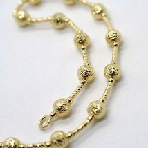 18K YELLOW GOLD CHAIN FINELY WORKED 5 MM BALL SPHERES AND TUBE LINK, 17.7 INCHES image 5