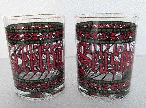 Anchor  Hocking (2) Houze Christmas Season's Tumbler Collectible Short Glasses