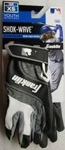 Franklin Shok-Wave Batting Gloves Black White Gray Youth XS Extra Small - $11.87